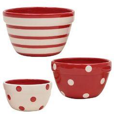 3 pc Prep Bowl Set, Polka Dots and Stripes