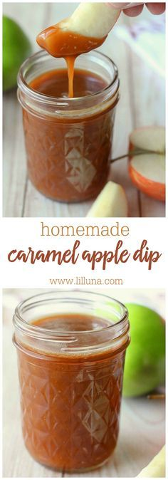 Homemade Caramel Apple Dip - super easy recipe including butter, sugar, corn syrup, whipping cream, sour cream, and sea salt!! So delicious!