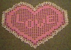 This is a popular Valentine's Crochet Pattern. This heart filet doily would be great on a corner shelf or in a framed wall hanging. You could even make a table mat using worsted weight yarn and a size h or 5mm hook. The stitch chart is on the bottom of the page.