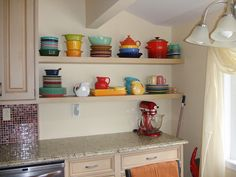 IKEA Open Kitchen Shelves - pinning for the color. Nice!