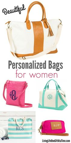Huge selection of personalized bags for women for any occasion. Monogrammed makeup bags, duffle bags, weekenders, tote bags and purses. Great gift ideas!