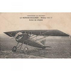 Carte Postales Ancienne Avion Aérodrome du Bourget Le Morane-Saulnier Rhone 110 IP Avion de Chasse noir et blanc Datée 1921
