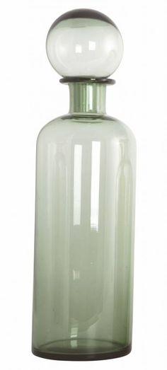Housedoctor Karaf 'Bottle Mega' grijs groen glas Ø11.5x32cm