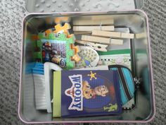 """Set """"Quiet time"""" for kids (30-40 min, set timer) and they can play with one of these lunchboxes filled with toys and stuff"""