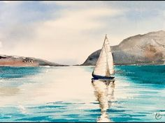 EASY Watercolor Sailboat Painting Tutorial - YouTube