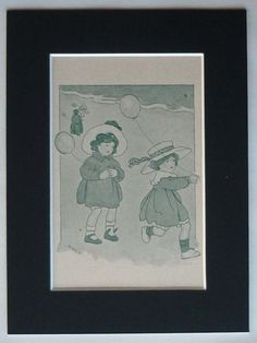Antique of a pair of girls playing on a beach with their balloons. Beautigul green art, the ideal decor for a girls nursery.    Date printed: 1911.    Condition: excellent.    Type of Print: relief halftone, printed on heavy matt paper.    Mount: black, to fit frame size 8 x 6.    For your convenience and to the ensure the preservation of the print, it is provided professionally matted and ready for framing. All the mounts we use are PH neutral and acid free and your print will come well…