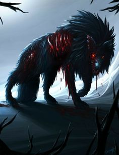 Beware of the big black rotten wolf by Papaya Style on DeviantArt - Beware of the big black rotten wolf by Papaya Style on DeviantArt - Fantasy Wolf, Fantasy Beasts, Dark Fantasy Art, Dark Art, Dark Creatures, Mythical Creatures Art, Anime Wolf, Demon Wolf, Fantasy Kunst