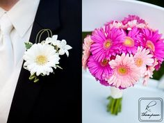 Bright pink gerbera daisies make a great spring-time wedding bouquet. The men's boutinierres are more subtle with a white daisy accompanied by narcissus. www.airlie.com Welcome to the k. thompson photography blog!: Christy & Billy | Airlie Center | VA wedding photography