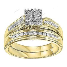 Square Style Yellow Gold Over 925 Silver Diamond Engagement Ring Wedding Sets #giftjewelry22