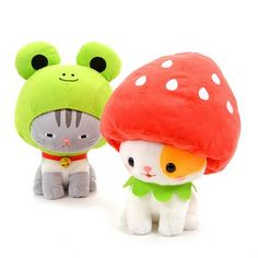 Set of Both Kawaii Plush, Cute Plush, Kawaii Cute, Softies, Plushies, Silly Hats, Hamster, Cute Stuffed Animals, Mode Shop