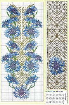 Волошки Butterfly Embroidery, Beaded Embroidery, Cross Stitch Embroidery, Embroidery Designs, Cross Stitch Designs, Cross Stitch Patterns, Graph Paper Art, Palestinian Embroidery, Knitting Charts