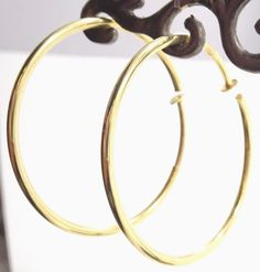 14k Solid Gold Clip On Hoop Earrings Simple Classic Design Free Shipping #ClipOn