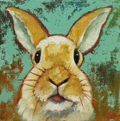 Rabbit 27 Drunken Cows - Whimsical Fine Art by Roz