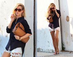 Persunmall Flower Lace Hem Shorts, Choies Metallic Strap Flat Sandals, Zara Shirt, Parfois Watch