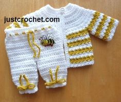 Free baby crochet pattern for Preemie coat and pants set http://www.justcrochet.com/prem-coat-pants-usa.html #justcrochet #crochet