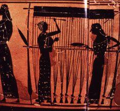 pyramidal loom weights, Greek loom 6th BCE via Kelticos