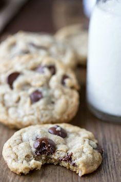 Coconut Oil Oatmeal Chocolate Chip Cookies Recipe - soft and chewy dessert that's made with a healthy fat!