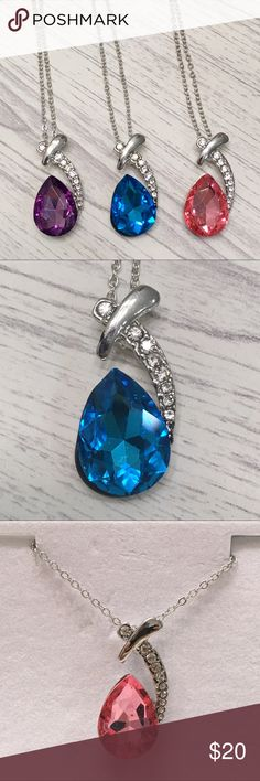 """Crystal necklaces in pink, blue, and purple Sparkly crystal to accent your neckline.  🐾 Lightweight and minimal necklace 🐾 Handcrafted with stainless steel and zinc alloy material 🐾 18k silver plated 🐾 17.5"""" length 🐾 Available colors: Blue, pink, purple 🐾 Comment with your desired color upon purchase  🐾 Bundle discount 🐾 No trades, no PP 🐾 Smoke free, pet friendly home Twilight Gypsy Collective Jewelry Necklaces"""
