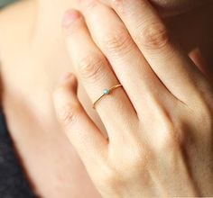 14k Solid Gold Turquoise Ring, Stackable Dainty Ring.Birthstone Of December.