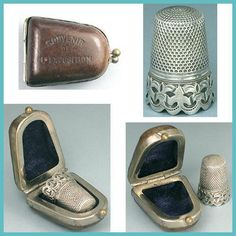 Antique Scalloped Band Silver Thimble in Case * French L'Exposition Souvenir