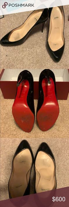 """270d3e068f Louboutin stilettos Authentic Christian louboutin heels, patent black  leather, 5"""" heel, excellent condition, protective red bottom cover Christian  Louboutin ..."""