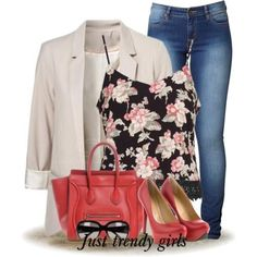 floral tops outfits with creamy blazer Cute casual outfits ideas http://www.justtrendygirls.com/cute-casual-outfits-ideas/