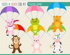 Parachute Animals Clip Art - color and outlines $