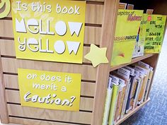"""Yellow Display @ St. Thomas Public Library - Was your yellow book """"Mellow Yellow"""" or does it merit a caution? (May 2013)"""