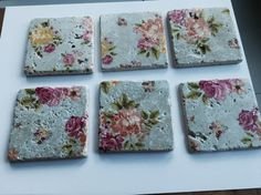 floral stone tile coaster set of 6 flowers by TheNakedTeapotCo