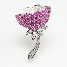 sapphire and diamond flower Brooch by Rina Limor