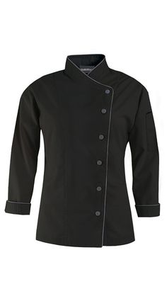 Women's Diagonal Closure Chef Coat - Long Sleeve - 65/35 Poly/Cotton $27.99 http://www.chefuniforms.com/chef-coats/womens-chef-coats/diagonal-closure-chef-coat.asp?frmcolor=blgst