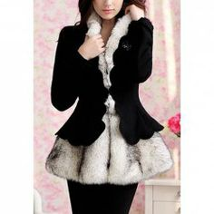 $46.90 Stylish Splicing Wave Cut Double-Deck Long Sleeves Coat For Women