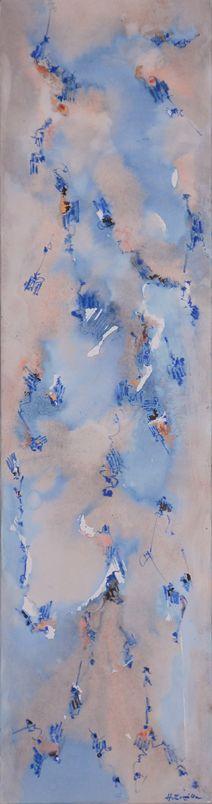 """""""Apenas huellas"""" - Heriberto Zorrilla- Tintas y lápiz de color sobre tela 150 x 40 cm - 2009 www.esencialismo.com"""