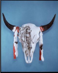 by dyke roskelley Bull Skulls, Cow Skull, Skull Art, Painted Skulls, Buffalo Skull, Skull Painting, Indian Art, Cows, Screen Shot