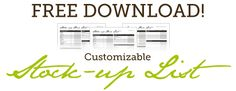 Free Customizable Stock-Up Price List -- to help you track grocery prices and sales and get the best deals!