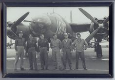 """Martin B-26 Marauder Here is a photo of Curt Claus's (PlaneADay contributor) pilot cousin, Lt. Russell Moths, standing at the far left in front of his B-26 """"graduation"""" airplane with his crew, taken just before he was assigned to overseas duty. This was a standard photo taken on arrival to """"combat ready"""" status"""
