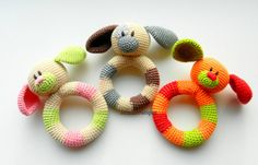 Crochet baby toy, Teething baby toy,  Grasping and Teething Toys  Dog, stuffed toys Gift for baby!