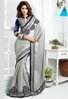 Grey Shimmer Faux Georgette Saree with Blouse @ $125.00