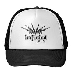 AR-15 Infidel Hat. Arsenal of AR-15 black rifles aiming forward and the text Infidel in both English and Arabic