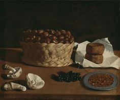 Francisco de #Zurbarán (Spanish, 1598–1664) Paolo Antonio Barbieri (Italian, 1603-49), Kitchen Still Life mit chestnuts, mushrooms and bread. The Art Institute of Chicago.