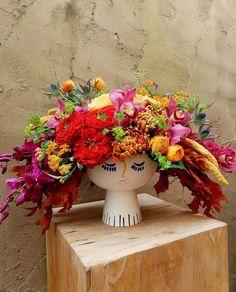 Female head vase Female Head, Fall Flowers, Flower Vases, Planter Pots, Centerpieces, Floral Wreath, Wreaths, Gardens, Unique