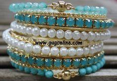 Mint Blue, Pearl, and Gold Bangle Set