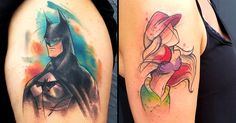 Florida-based tattoo artist Russell Van Schaick likes to mix it up with watercolor and sketch styles in his pop culture-themed tattoos.