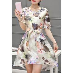 $21.99 Elegant Scoop Neck Short Sleeve Floral Print Belted Organza Dress For Women