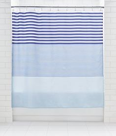 George Home Graduating Stripe Shower Curtain - Blue | Showers & Accessories | George at ASDA