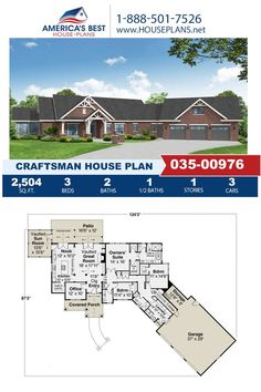 Take a look at Plan 035-00976, a Craftsman design that offers 2,504 sq. ft., 3 bedrooms, 2.5 bathrooms, a breakfast nook, an optional bonus room, and an office area. Learn all about this design on our website. Craftsman Style Homes, Craftsman House Plans, Best House Plans, Build Your Dream Home, Architectural Elements, Square Feet, Floor Plans, House Design, Patio