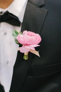 Sweet & simple pink boutonniere #wedding #flowers #bride
