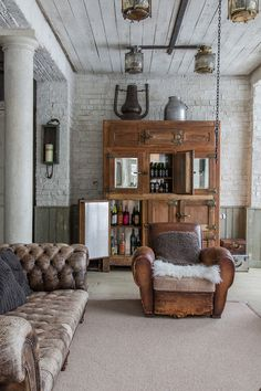 antique refrigerator as a bar