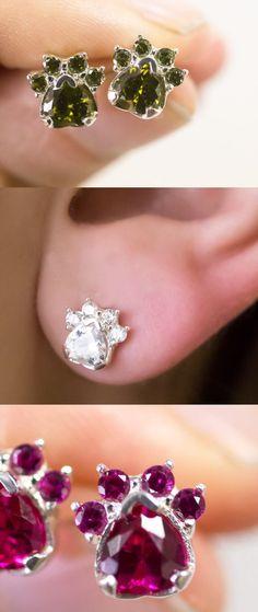 Paw Print Birthstone Earrings