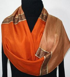 Christmas Gift. Caramel Beige Hand Painted Filigree Shawl COPPER CHIC Silk Scarves Colorado Birthday Size Large14x72 Silk Scarf Copper